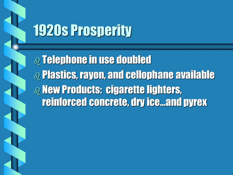 1920s Prosperity b Telephone in use doubled b Plastics, rayon, and cellophane available b New Products: cigarette lighters, reinforced concrete, dry ice…and pyrex b More leisure time and paid vacations