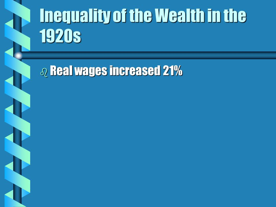 Inequality of the Wealth in the 1920s b Real wages increased 21%
