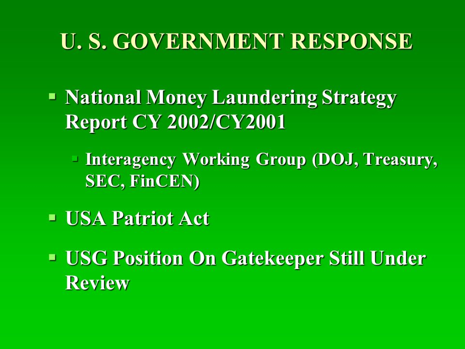 U. S. GOVERNMENT RESPONSE  National Money Laundering Strategy Report CY 2002/CY2001  Interagency Working Group (DOJ, Treasury, SEC, FinCEN)  USA Pa