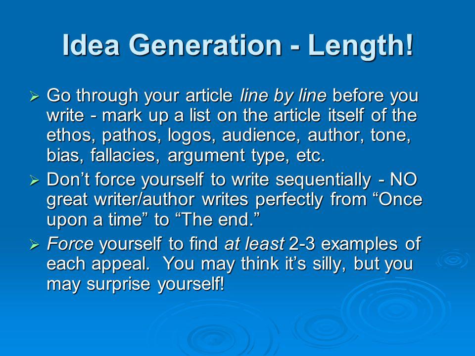 Idea Generation - Length.