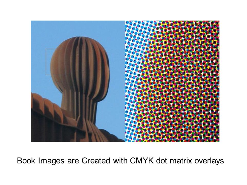 When scanned, we use a descreen filter to turn these overlapping color dots into individually colored pixels – which blurs the image but creates a uniform color map with no white spots or visible matrix pattern.