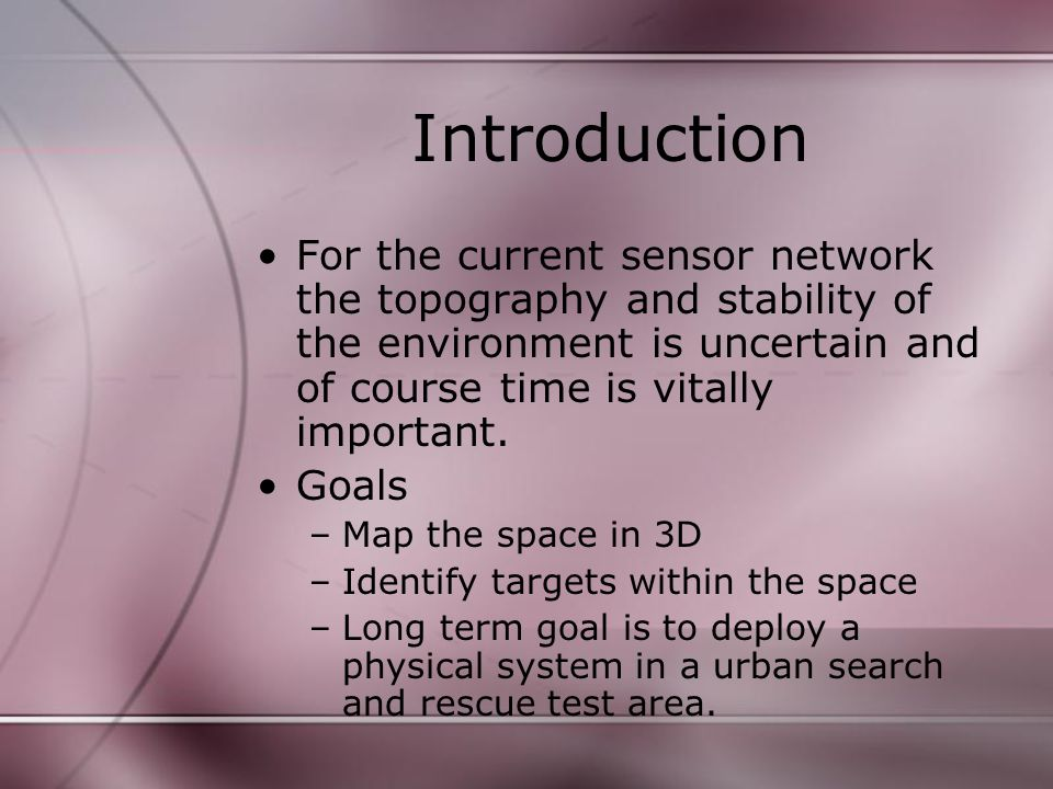 Introduction For the current sensor network the topography and stability of the environment is uncertain and of course time is vitally important.