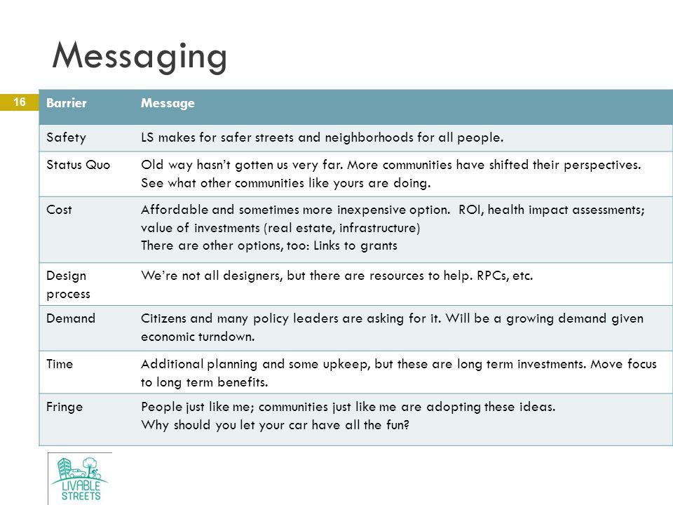 Messaging 16 BarrierMessage SafetyLS makes for safer streets and neighborhoods for all people.