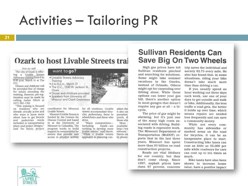 Activities – Tailoring PR 21