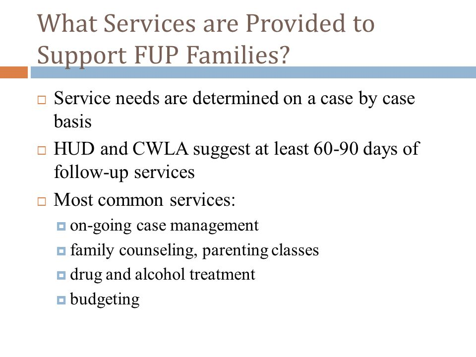 What Services are Provided to Support FUP Families?  Service needs are determined on a case by case basis  HUD and CWLA suggest at least 60-90 days