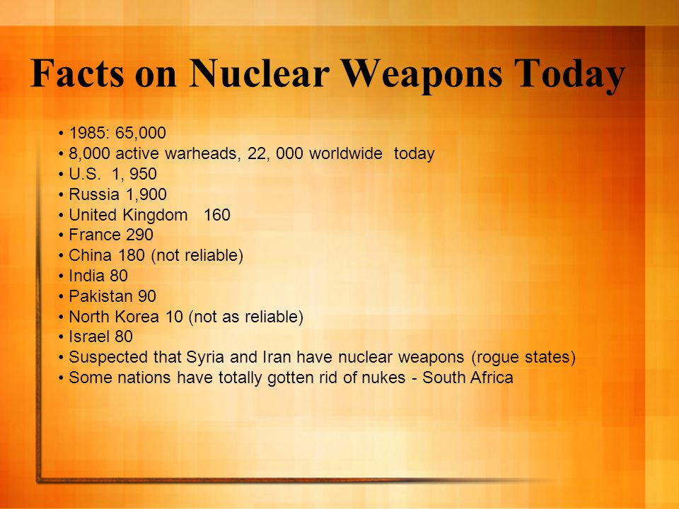 Facts on Nuclear Weapons Today 1985: 65,000 8,000 active warheads, 22, 000 worldwide today U.S.