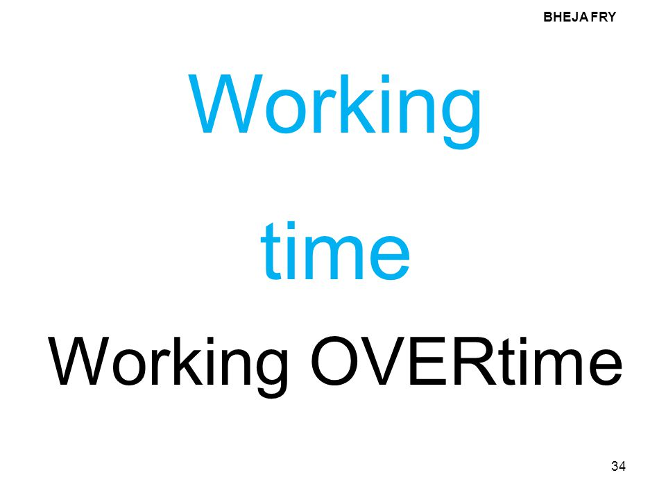 BHEJA FRY 34 Working time Working OVERtime