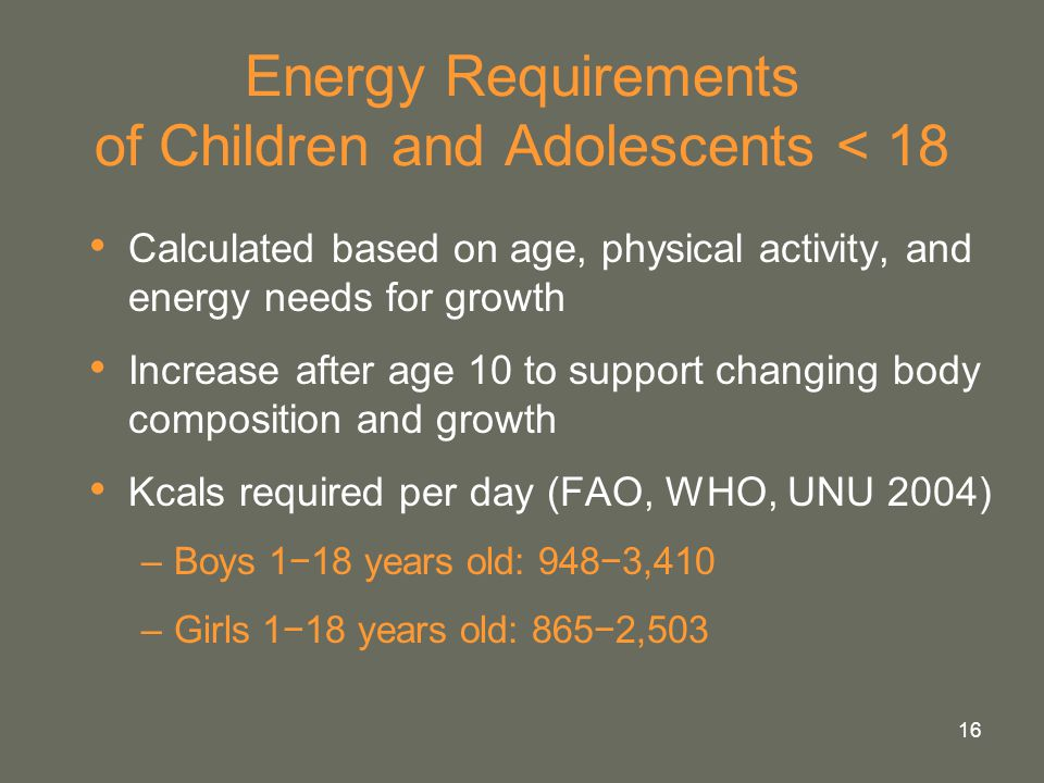 16 Energy Requirements of Children and Adolescents < 18 Calculated based on age, physical activity, and energy needs for growth Increase after age 10