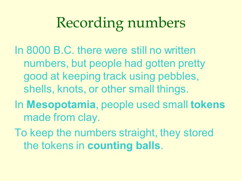 Recording numbers In 8000 B.C.