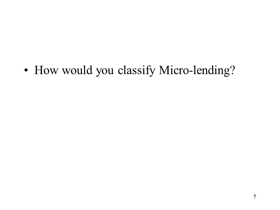 5 How would you classify Micro-lending?