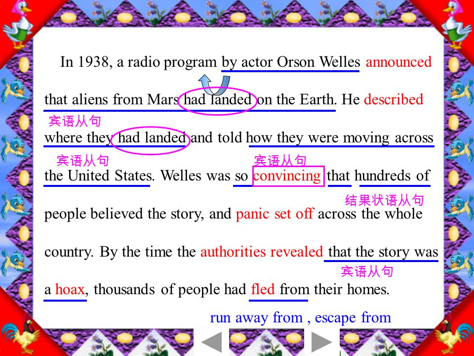 1.Orson Welles said on a TV program that aliens from Mars had landed on the Earth.