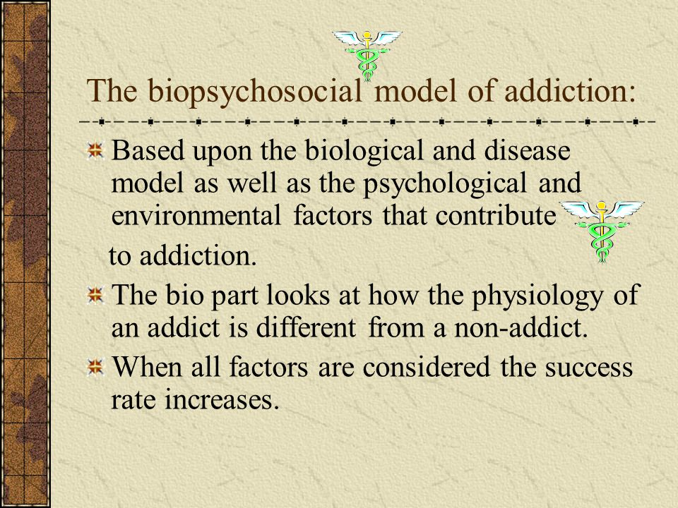 We talked about neurotransmitters, usually the addict has low: serotonin Norepinephrine Endorphins enkephalin