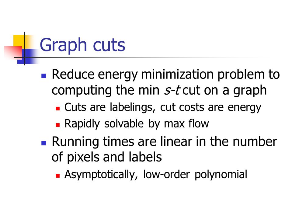 Graph cuts Reduce energy minimization problem to computing the min s-t cut on a graph Cuts are labelings, cut costs are energy Rapidly solvable by max flow Running times are linear in the number of pixels and labels Asymptotically, low-order polynomial