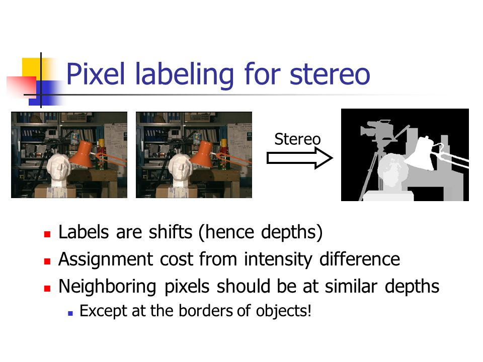 Pixel labeling for stereo Labels are shifts (hence depths) Assignment cost from intensity difference Neighboring pixels should be at similar depths Except at the borders of objects.
