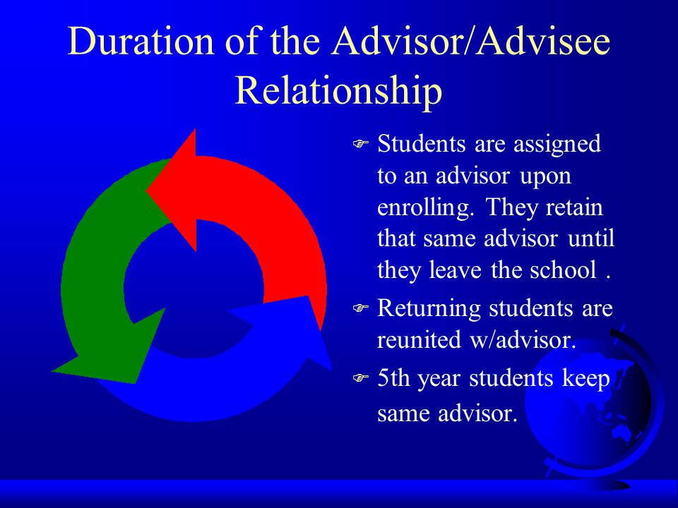 Duration of the Advisor/Advisee Relationship F Students are assigned to an advisor upon enrolling.