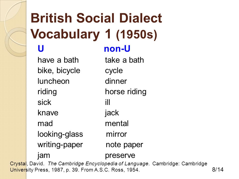 British Social Dialect Vocabulary 1 (1950s) U non-U have a bath take a bath bike, bicycle cycle luncheon dinner riding horse riding sick ill knave jack mad mental looking-glass mirror writing-paper note paper jam preserve Crystal, David.