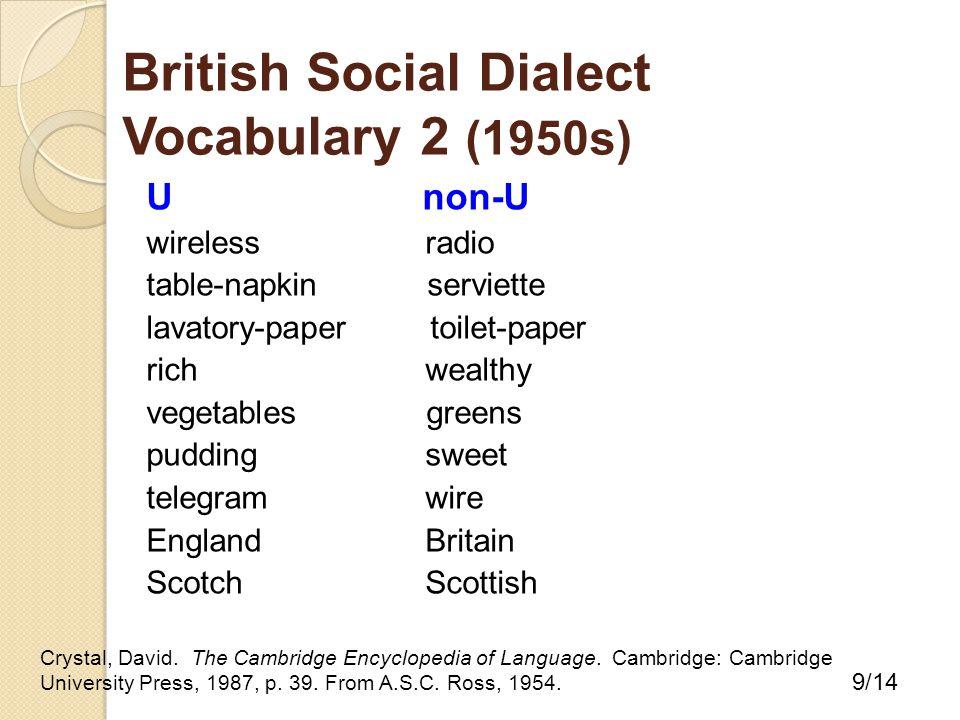 U non-U wirelessradio table-napkin serviette lavatory-paper toilet-paper richwealthy vegetables greens pudding sweet telegramwire EnglandBritain ScotchScottish Crystal, David.