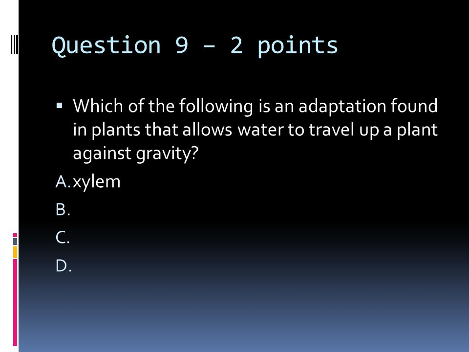 Question 9 – 2 points  Which of the following is an adaptation found in plants that allows water to travel up a plant against gravity.