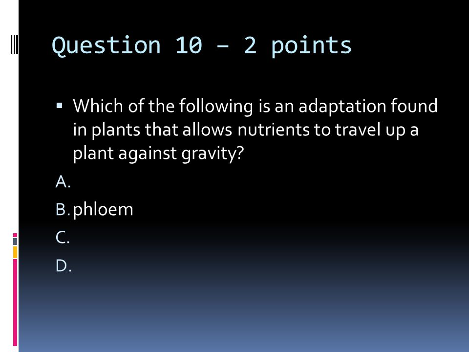 Question 10 – 2 points  Which of the following is an adaptation found in plants that allows nutrients to travel up a plant against gravity.