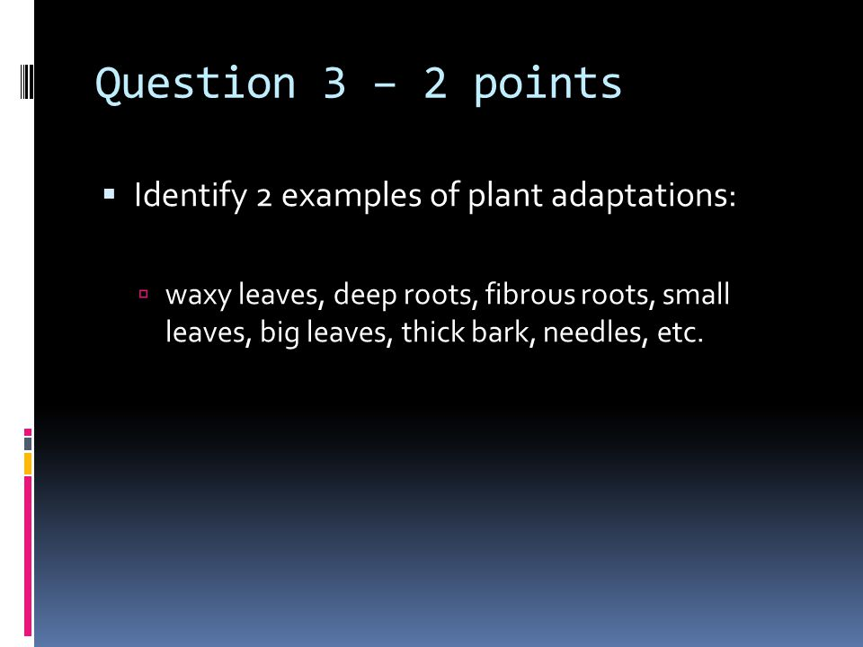Question 3 – 2 points  Identify 2 examples of plant adaptations:  waxy leaves, deep roots, fibrous roots, small leaves, big leaves, thick bark, need