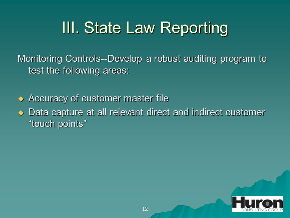 12 III. State Law Reporting Monitoring Controls--Develop a robust auditing program to test the following areas:  Accuracy of customer master file  D