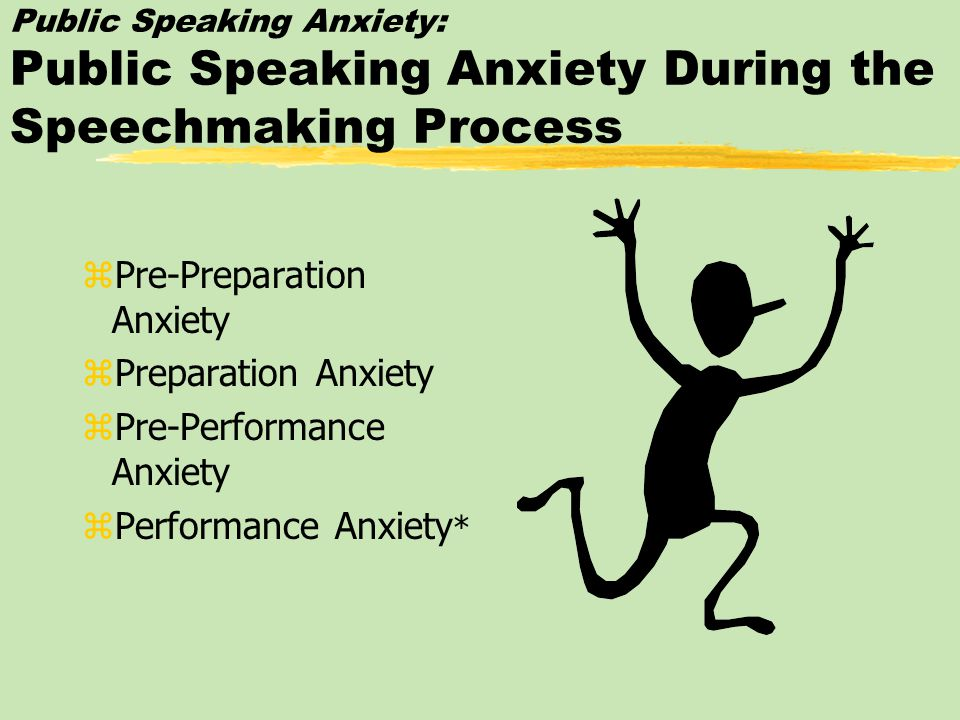 Public Speaking Anxiety: Communication Apprehension zSituational Communication z Apprehension zAnxiety about communicating with a particular audience