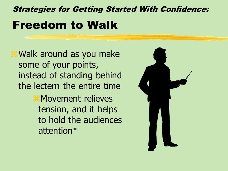 Strategies for Getting Started With Confidence: Natural Gestures zPractice some controlled, natural gestures that might be useful in enhancing your sp