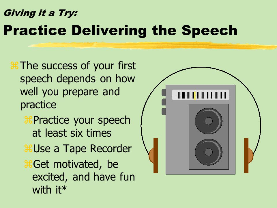 Giving it a Try: Outline the Speech Introduction Purpose statement I. First main point A. Supporting material B. Supporting material II. Second main p