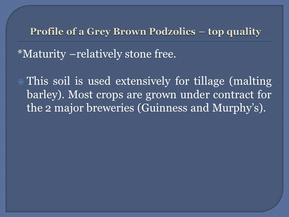 *Maturity –relatively stone free.  This soil is used extensively for tillage (malting barley). Most crops are grown under contract for the 2 major br
