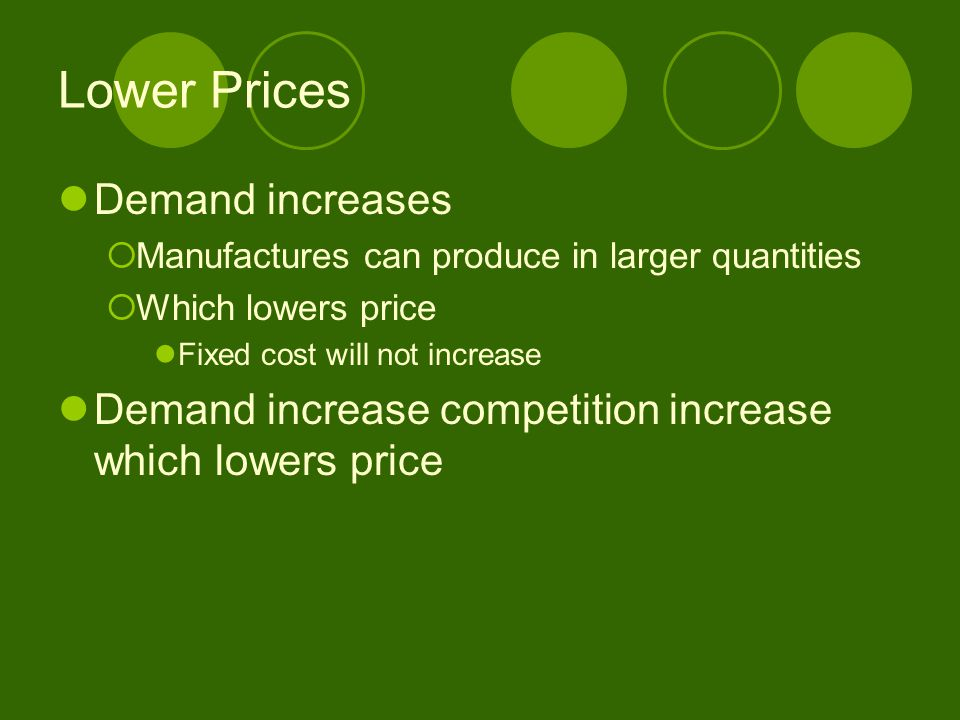 Lower Prices Demand increases  Manufactures can produce in larger quantities  Which lowers price Fixed cost will not increase Demand increase compet