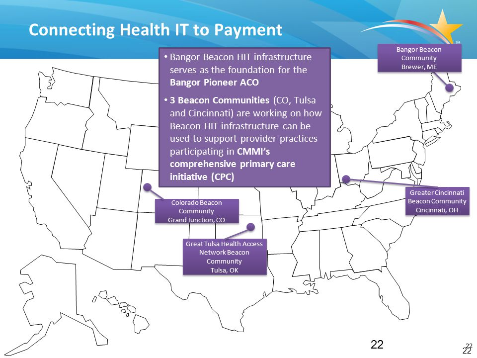 22 Connecting Health IT to Payment 22 Great Tulsa Health Access Network Beacon Community Tulsa, OK Great Tulsa Health Access Network Beacon Community Tulsa, OK Greater Cincinnati Beacon Community Cincinnati, OH Greater Cincinnati Beacon Community Cincinnati, OH Colorado Beacon Community Grand Junction, CO Colorado Beacon Community Grand Junction, CO Bangor Beacon Community Brewer, ME Bangor Beacon HIT infrastructure serves as the foundation for the Bangor Pioneer ACO 3 Beacon Communities (CO, Tulsa and Cincinnati) are working on how Beacon HIT infrastructure can be used to support provider practices participating in CMMI's comprehensive primary care initiative (CPC)