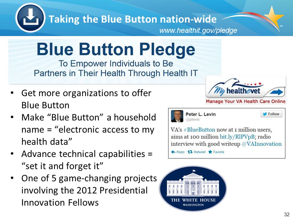 32 Taking the Blue Button nation-wide Get more organizations to offer Blue Button Make Blue Button a household name = electronic access to my health data Advance technical capabilities = set it and forget it One of 5 game-changing projects involving the 2012 Presidential Innovation Fellows www.healthit.gov/pledge