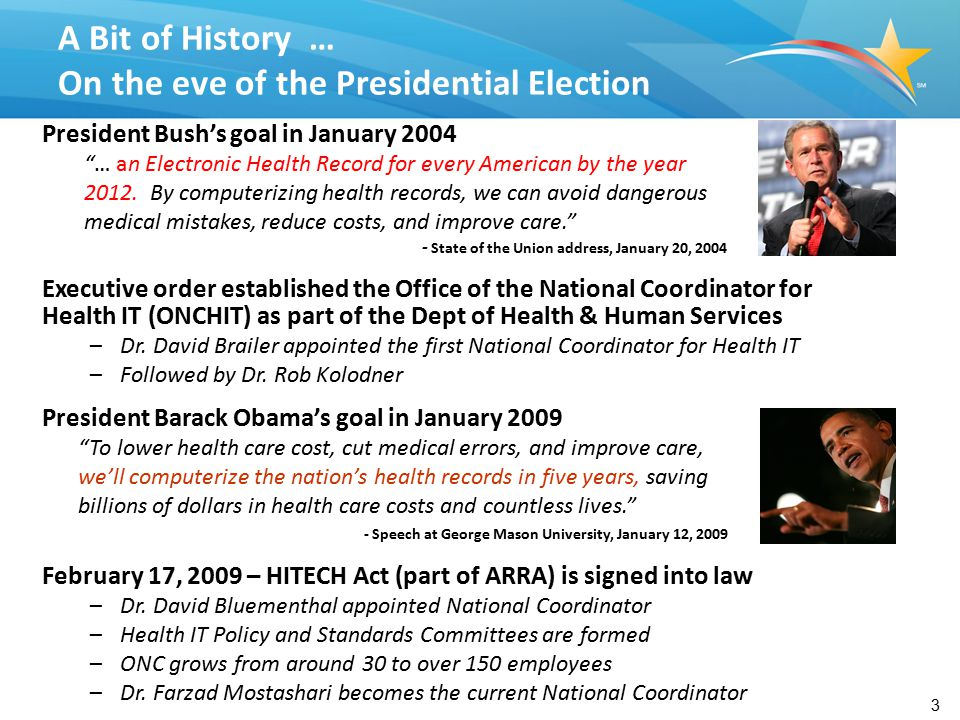3 President Bush's goal in January 2004 … an Electronic Health Record for every American by the year 2012.