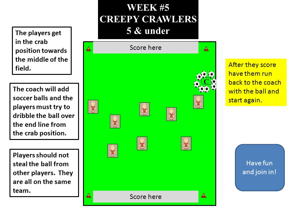 WEEK #5 CREEPY CRAWLERS 5 & under C The players get in the crab position towards the middle of the field. The coach will add soccer balls and the play