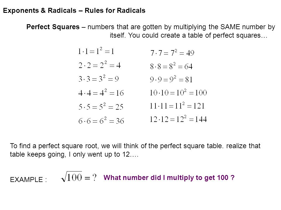 Exponents & Radicals – Rules for Radicals Square root expressions