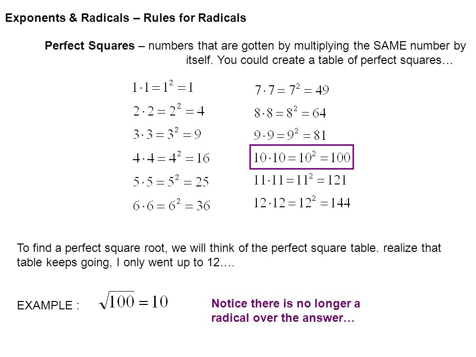 Exponents & Radicals – Rules for Radicals Simplifying radicals – sometimes a number under a radical can be broken into a perfect square part and a radical part.