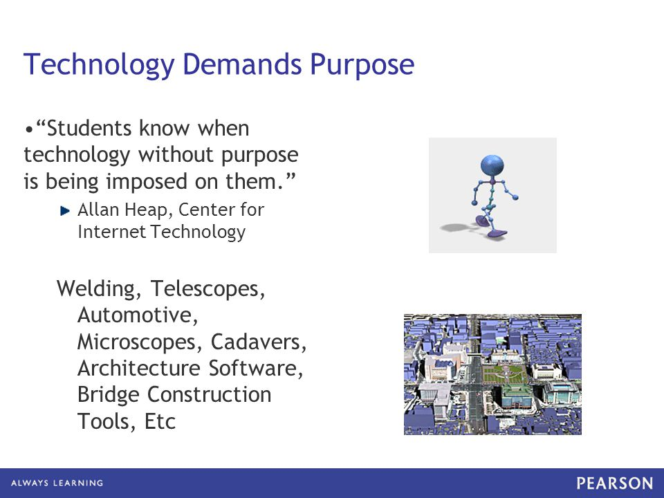 "Technology Demands Purpose ""Students know when technology without purpose is being imposed on them."" Allan Heap, Center for Internet Technology Weldin"