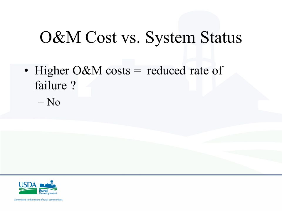 O&M Cost vs. System Status Higher O&M costs = reduced rate of failure ? –No