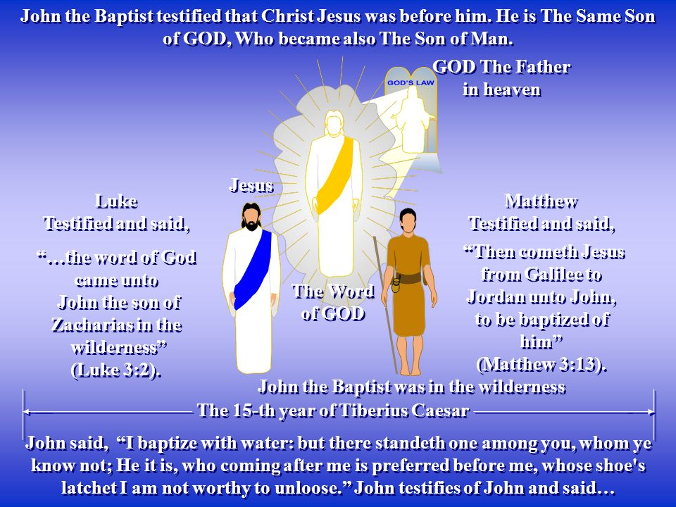 The Word of GOD The Word of GOD GOD The Father in heaven GOD The Father in heaven John the Baptist testified that Christ Jesus was before him. He is T