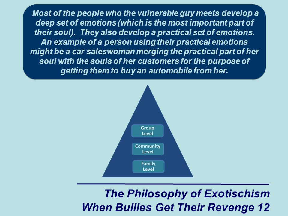 The Philosophy of Exotischism When Bullies Get Their Revenge 12 Most of the people who the vulnerable guy meets develop a deep set of emotions (which is the most important part of their soul).