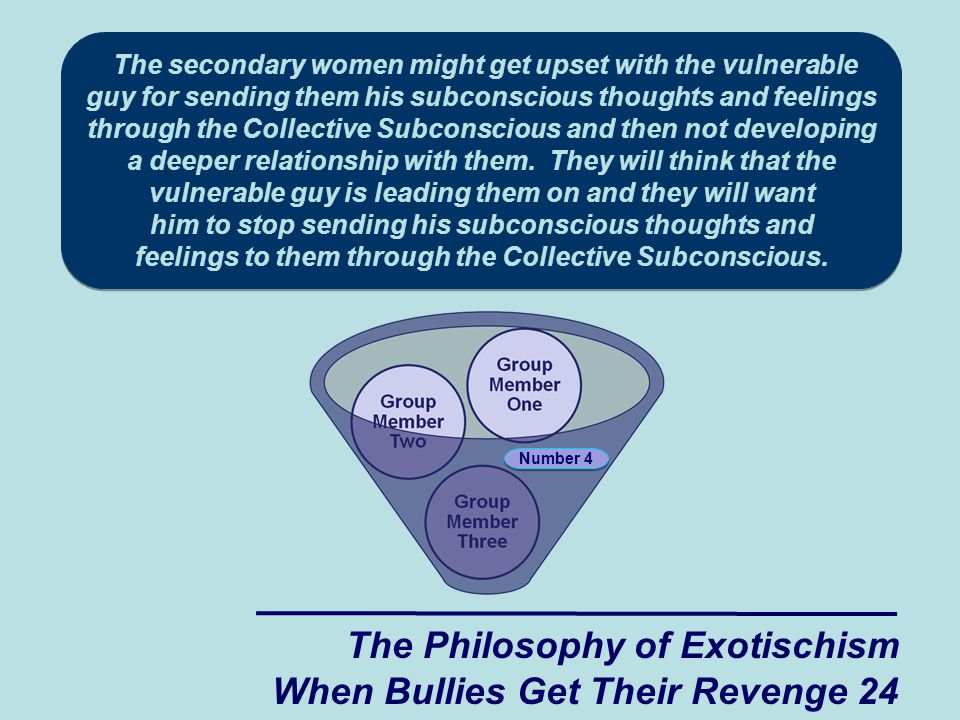 The Philosophy of Exotischism When Bullies Get Their Revenge 24 Number 4 The secondary women might get upset with the vulnerable guy for sending them his subconscious thoughts and feelings through the Collective Subconscious and then not developing a deeper relationship with them.