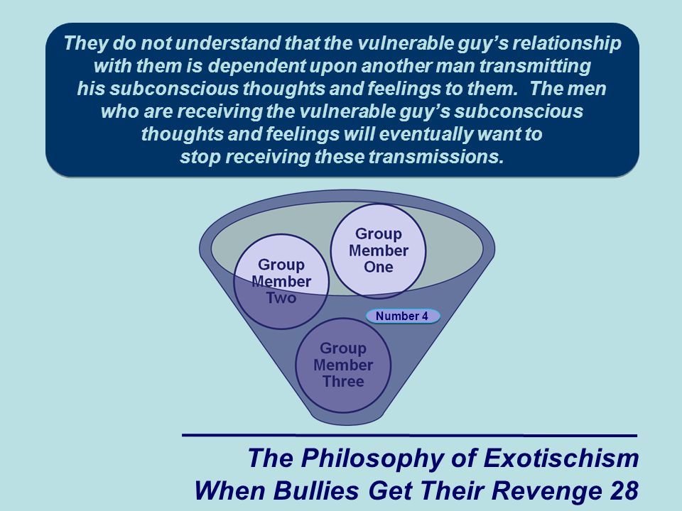 The Philosophy of Exotischism When Bullies Get Their Revenge 28 Number 4 They do not understand that the vulnerable guy's relationship with them is dependent upon another man transmitting his subconscious thoughts and feelings to them.
