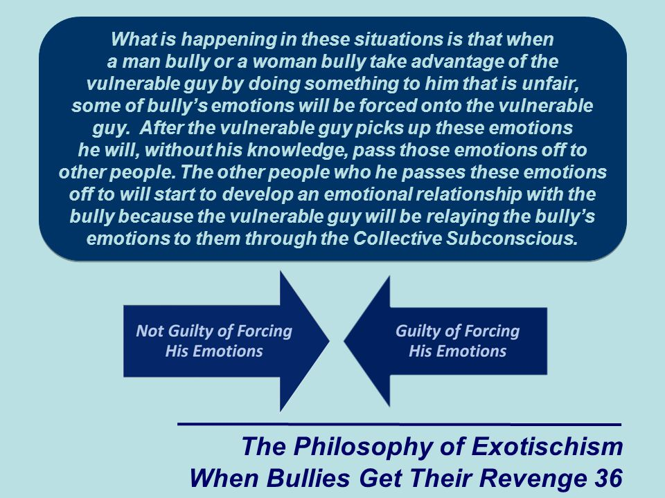 The Philosophy of Exotischism When Bullies Get Their Revenge 36 What is happening in these situations is that when a man bully or a woman bully take advantage of the vulnerable guy by doing something to him that is unfair, some of bully's emotions will be forced onto the vulnerable guy.