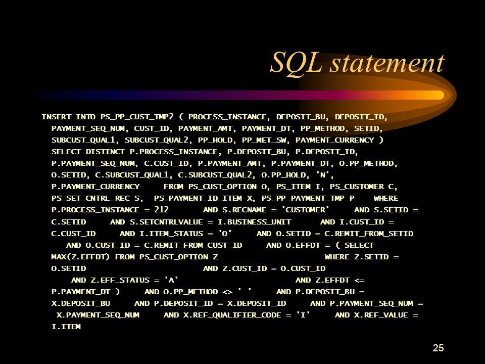 25 SQL statement INSERT INTO PS_PP_CUST_TMP2 ( PROCESS_INSTANCE, DEPOSIT_BU, DEPOSIT_ID, PAYMENT_SEQ_NUM, CUST_ID, PAYMENT_AMT, PAYMENT_DT, PP_METHOD,