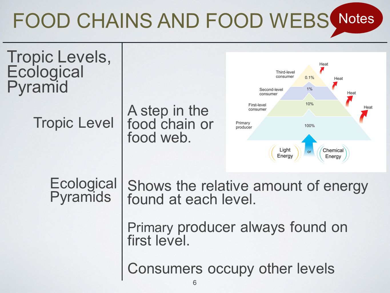 FOOD CHAINS AND FOOD WEBS Notes Tropic Levels, Ecological Pyramid A step in the food chain or food web.