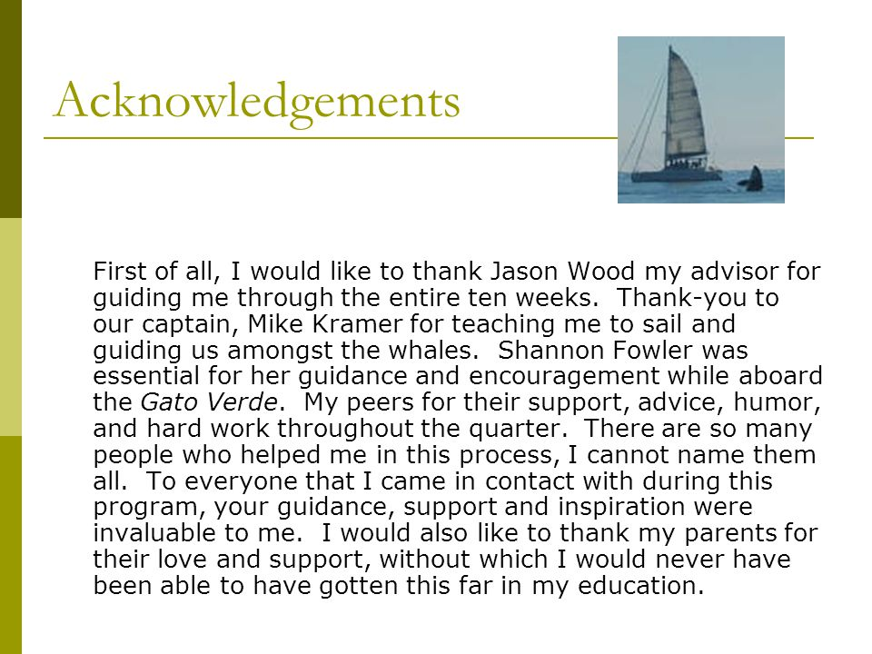 Acknowledgements First of all, I would like to thank Jason Wood my advisor for guiding me through the entire ten weeks. Thank-you to our captain, Mike