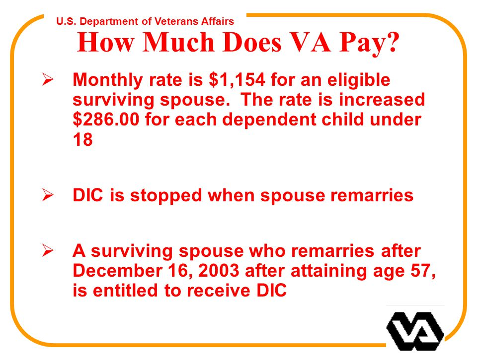 U.S. Department of Veterans Affairs How Much Does VA Pay.