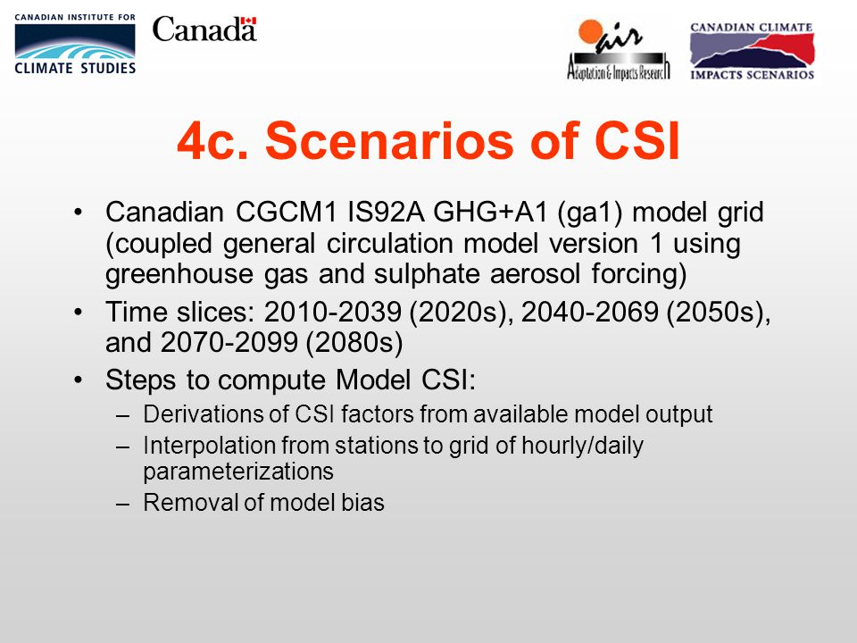 4c. Scenarios of CSI Canadian CGCM1 IS92A GHG+A1 (ga1) model grid (coupled general circulation model version 1 using greenhouse gas and sulphate aeros