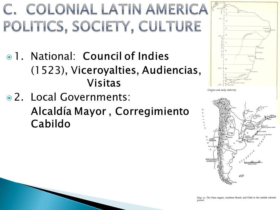  1.National: Council of Indies (1523), Viceroyalties, Audiencias, Visitas  2.