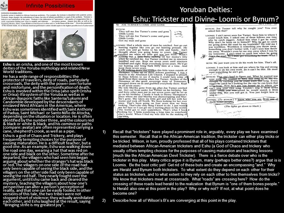 Yoruban Deities: Eshu: Trickster and Divine- Loomis or Bynum? Eshu is an orisha, and one of the most known deities of the Yoruba mythology and related